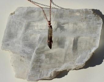 Smoky Quartz Pendant, Reclaimed Copper