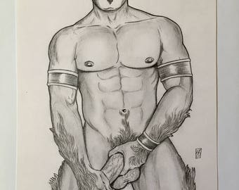 GAY MALE NUDE Art Fantasy Elf Muscular Abs Sexy Dreads Hot Original Pencil Drawing Lgbt Leather