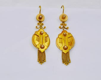 Vintage gold antique style tassel earrings