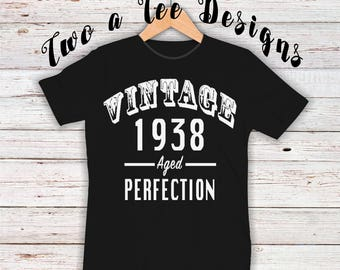 Vintage themed shirt, 80yrs old shirt, happy 80th, vintage, aged perfection, twoateedesigns, fun birthday shirt, vintage style
