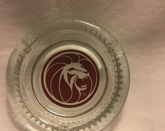 Vintage Las Vegas MGM Grand Hotel Casino Glass Ashtray
