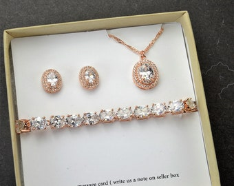 Rose gold  oval earrings for bride wedding jewelry for bride bridal necklace bridal bracelet rose gold wedding jewelry set crystal studs