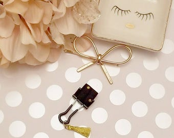 Gold Studded Tassel; pen clips, pen loops