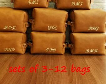 Set of bags, Personalized gifts for groomsmen, Mens gift, Dopp Kit, Toiletry bag, Travel organizer, Cosmetic bag, Shaving, Vegan leather,