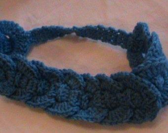 Crocheted blue headband