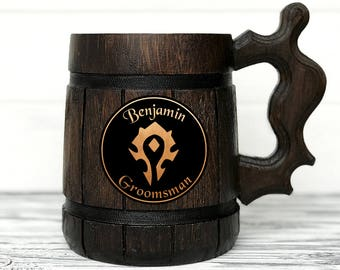 Horde Mug. World Of Warcraft Mug. Personalized Horde Gift. WOW Gift. Groomsmen Best Man Groom Gift. Beer Stein. Wooden Beer Tankard #73