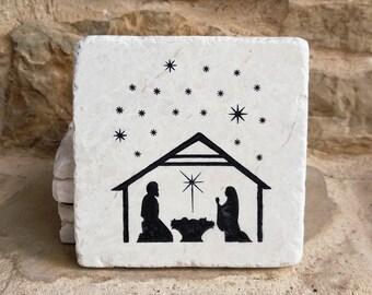 Nativity Coasters, Nativity Decor, Christmas Coasters, Christmas Decor, Religious Decor