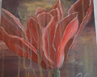 "Original Acrylic   10"" X 10""contemporary still life : Tulip  bloom"