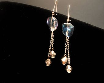 Glass stones and crystal dangling earrings