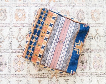 Royale Eclectic Vintage Moroccan Floor Cushion Pouf Sofa Cover Boujaad Kilim