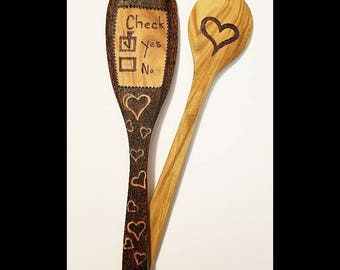 Wood Burned Valentine's Day Spoons