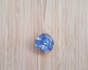 Real Hydrangea Zen Pebble Worry Stone Necklace