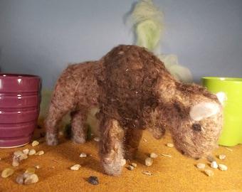 needle felted bison