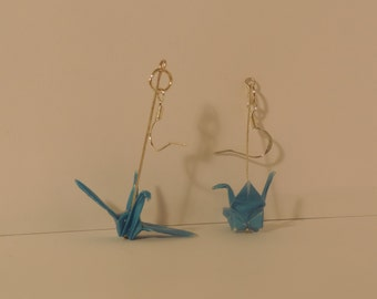 Light Cobalt Blue Origami Crane Earrings