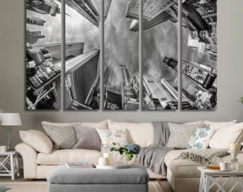 New York City Black and White Skyline Canvas Print NYC Aerial View 3 Panel SplitCanvas Triptych NY Print for Living Room Wall Decor