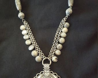 Boho, Gypsy, Unique Medallion Pendent: Vintage 80s