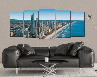 Dubai Canvas Wall Art, UAE Shoreline, Wall Skyline Print 5 Panel Canvas Home Decor, Office Art