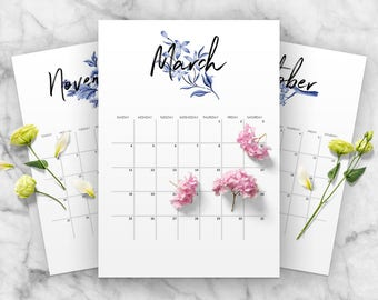 2018 Blue Calendar Printable, Floral Planner, Yearly Planner Calendar, Monthly Calendar, A4, Letter Size, Instant Download, Modern Indigo