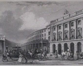 1851 Regent Street Quadrant, Piccadilly Circus London. Antique Original Engraving. England Britain, UK United Kingdom.