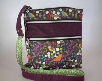 Triple Zip Crossbody or Shoulder Bag