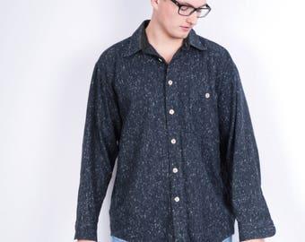 Luxa D'or Mens 41/42 L Casual Shirt Blue Vintage Retro