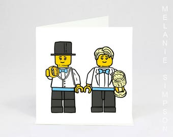 Gay lego grooms wedding archival cotton celebration card