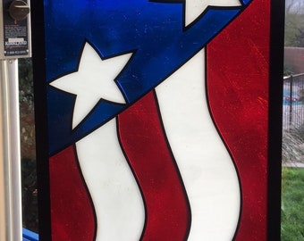 American Flag Stained Glass Art, Address Plaque, Street Number, House Numbers, Yard Art, Patriotic, Red, White, Blue, Decor, Window Hanging