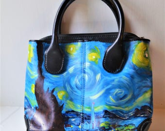 Hand Painted, Italian Leather handbag