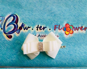 Bow.ter.Flower - French Channel and American Bow - on a French Barrette or Alligator Clip