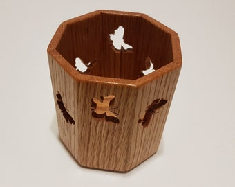 Wooden Candle Box, Octagon - Butterflies