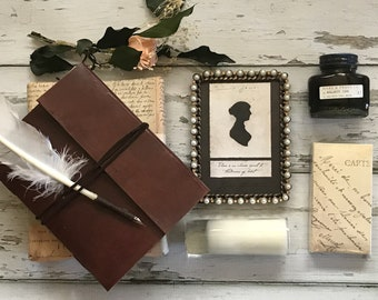 Jane Austen's Kit: Gift Box with Wrap Journal, Quill & Ink, Pearl Frame, Candle and Matches; Gift Wrapped with Handwritten Note