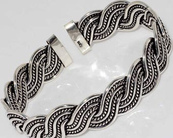 Wire Bangle 925 Silver Plated Handmade