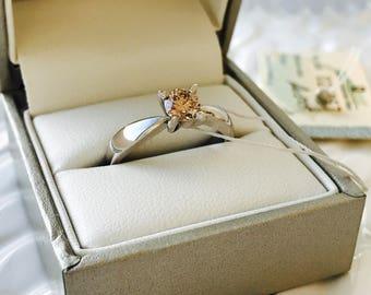 Beautiful 0.56 Ct Certified Round Cut Natural Diamond 14 K White Gold Engagement Ring