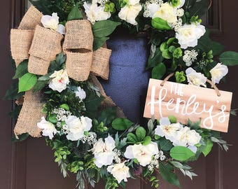 Rustic Style Wreath with Burlap Bow and a Custom Hand Painted Wood Sign| Front Door Decor| Southern Charm| Floral Wreath| Summer Decor