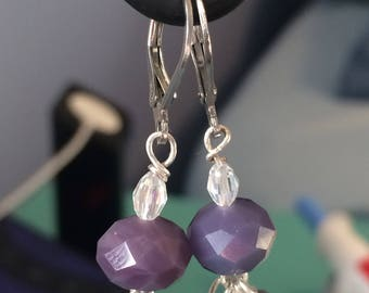 Elegant purple beaded earrings