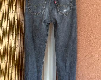 Vintage 1980's Levis 501 Button Fly Distressed Jeans Black 32x36