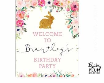 Bunny Welcome Sign / Rabbit Welcome Sign / Bunny Birthday Sign / Bunny Welcome Sign / Pink Gold Flower Floral / Digital Printable RB01