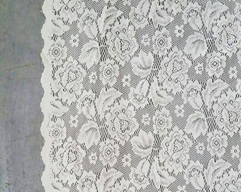 Large White Lace Window Curtain. Vintage White Lace Curtain. Long Floral Lace Curtain panel. 5 x 5ft.