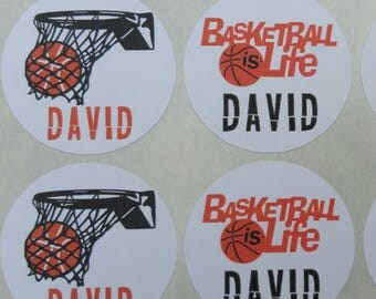 Personalized Basketball Stickers for Back to School, Name labels, cards, etc set of 20 up to 4 names