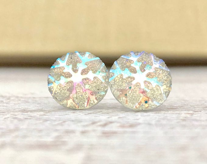 Featured listing image: Iridescent Snowflake on Shimmering Glitter, Small Winter Stud Earrings with Surgical Steel Posts