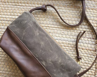 Leather and Waxed Canvas Lightweight Bag - Mitte bag