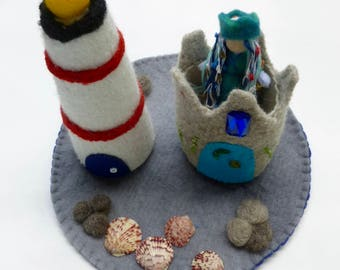 Felted lighthouse mermaid sand castle play set Waldorf inspired ready to ship
