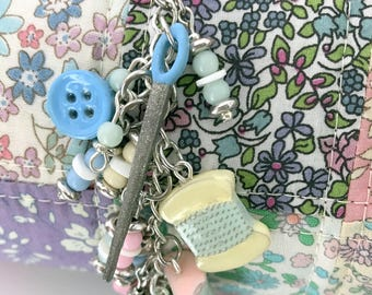 Charm Dangle for the Sewist | Mannequin | Floss | Thread | Sewing Needle |  Girl Gift | Chunky Charm | Scissor Keeper | Planner Accessory