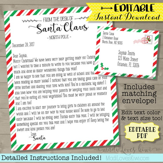 Personalized letter from santa editable santa letter template il570xn spiritdancerdesigns Gallery