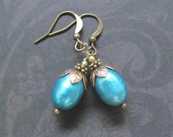 Freshwater Pearl Earrings, Metallic Aqua Blue Real Pearls, Antiqued Brass Dangle Drop, Victorian design jewelry, Hawaiian Jewelry