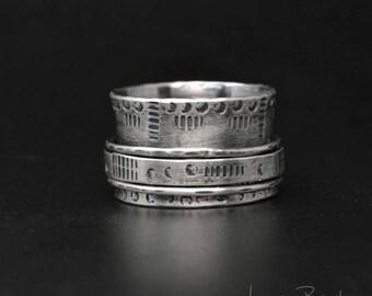 Spinner Ring Sterling Silver Stamped Designs Meditation Ring Fidget Ring for Size 6