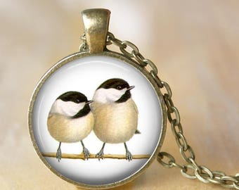 Chickadees Pendant, Necklace or Key Chain - Birds - Choice of Silver, Bronze, Copper or Black, Bird Necklace, Keyring, Keychain