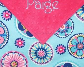 Baby Girl Blanket, Floral Baby Blanket, for Baby Girls, Personalized Baby Blankets, Name Blanket, Custom Pink Aqua Minky Blanket, Monogram