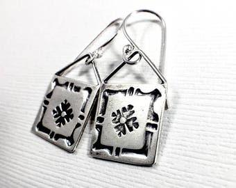 Framed Flower Window Earrings - Sterling Silver Earrings - Dangle Earrings - Stamped Earrings