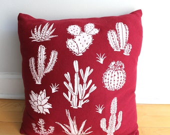 Dark Red Cactus and Succulents Hand Screen Printed Pillow - One and Only of Each made